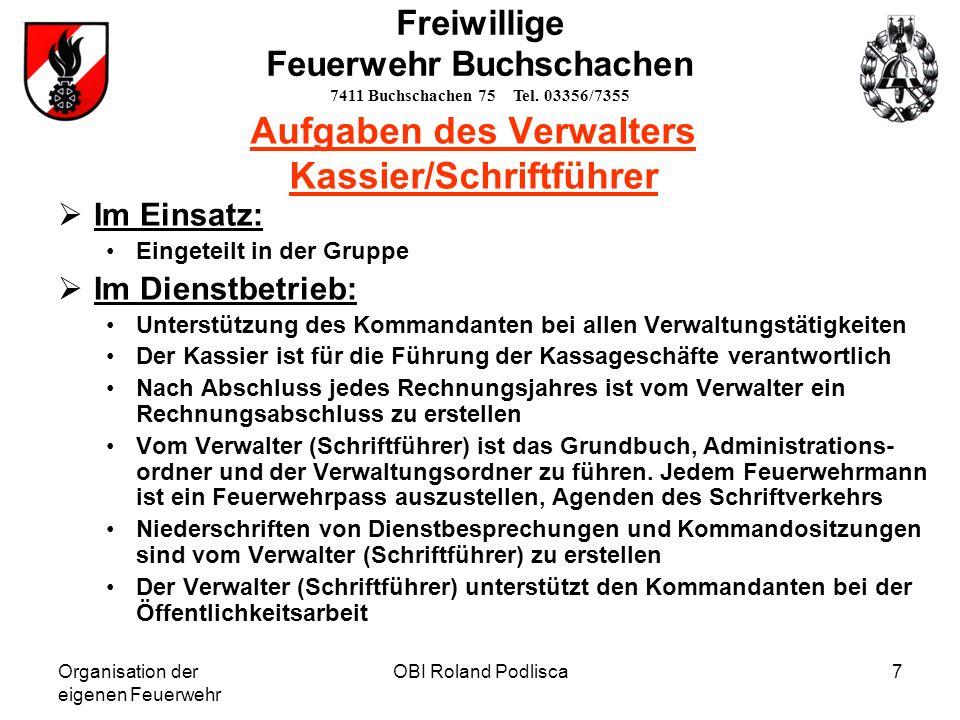 Organisation der eigenen Feuerwehr OBI Roland Podlisca8 Freiwillige Feuerwehr Buchschachen 7411 Buchschachen 75 Tel.