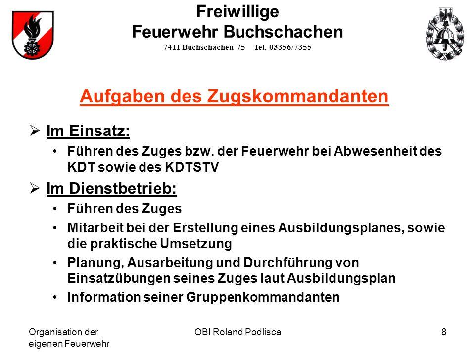 Organisation der eigenen Feuerwehr OBI Roland Podlisca8 Freiwillige Feuerwehr Buchschachen 7411 Buchschachen 75 Tel. 03356/7355 Aufgaben des Zugskomma