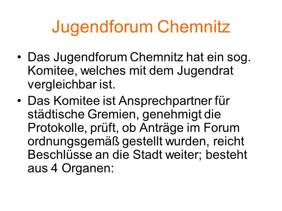 Jugendforum Chemnitz Das Jugendforum Chemnitz hat ein sog. Komitee, welches mit dem Jugendrat vergleichbar ist. Das Komitee ist Ansprechpartner für st