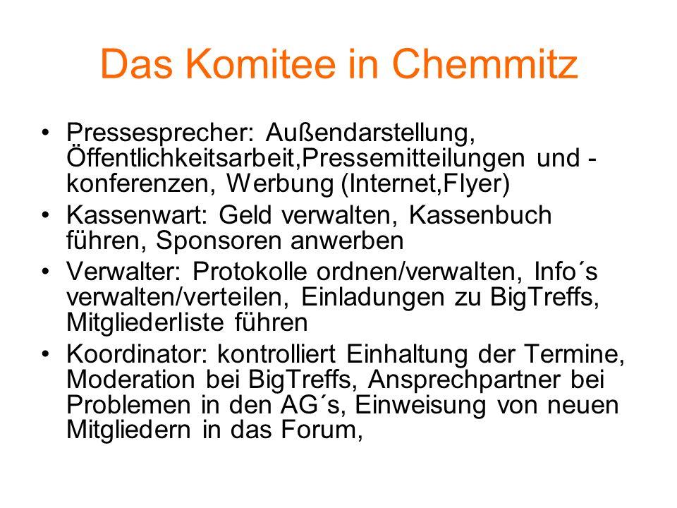 Das Komitee in Chemmitz Pressesprecher: Außendarstellung, Öffentlichkeitsarbeit,Pressemitteilungen und - konferenzen, Werbung (Internet,Flyer) Kassenw