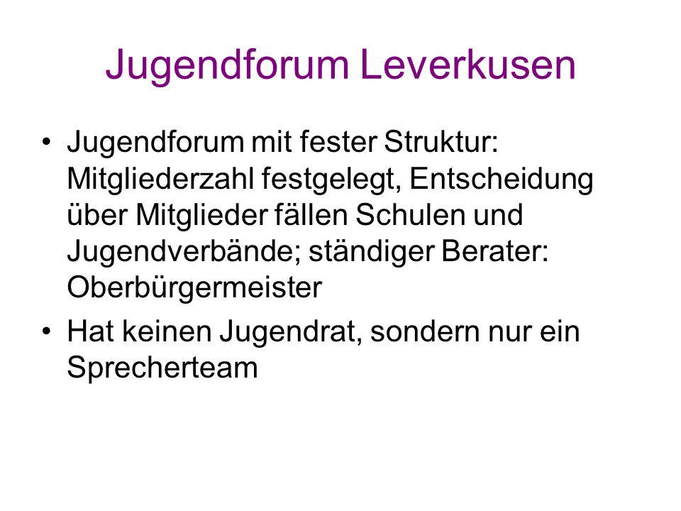 Jugendforum Leverkusen Jugendforum mit fester Struktur: Mitgliederzahl festgelegt, Entscheidung über Mitglieder fällen Schulen und Jugendverbände; stä