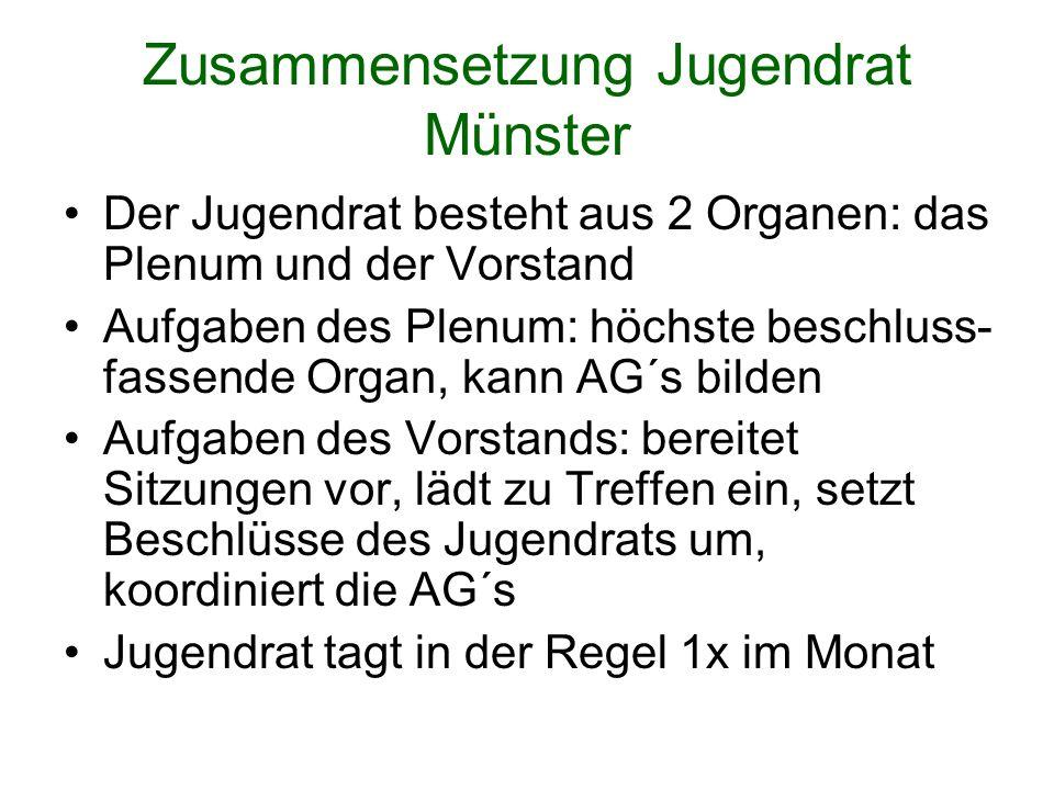 Zusammensetzung Jugendrat Münster Der Jugendrat besteht aus 2 Organen: das Plenum und der Vorstand Aufgaben des Plenum: höchste beschluss- fassende Or