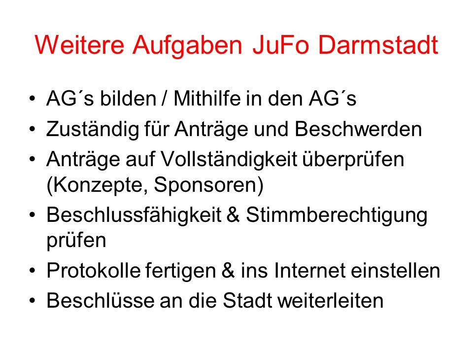 Weitere Aufgaben JuFo Darmstadt AG´s bilden / Mithilfe in den AG´s Zuständig für Anträge und Beschwerden Anträge auf Vollständigkeit überprüfen (Konze