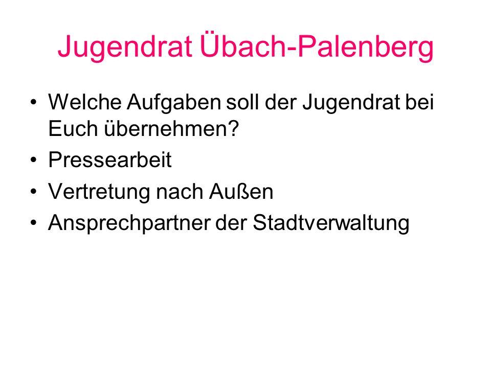Jugendrat Übach-Palenberg Welche Aufgaben soll der Jugendrat bei Euch übernehmen? Pressearbeit Vertretung nach Außen Ansprechpartner der Stadtverwaltu
