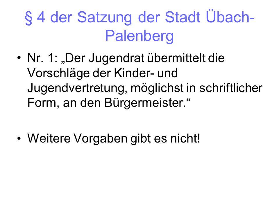 § 4 der Satzung der Stadt Übach- Palenberg Nr. 1: Der Jugendrat übermittelt die Vorschläge der Kinder- und Jugendvertretung, möglichst in schriftliche
