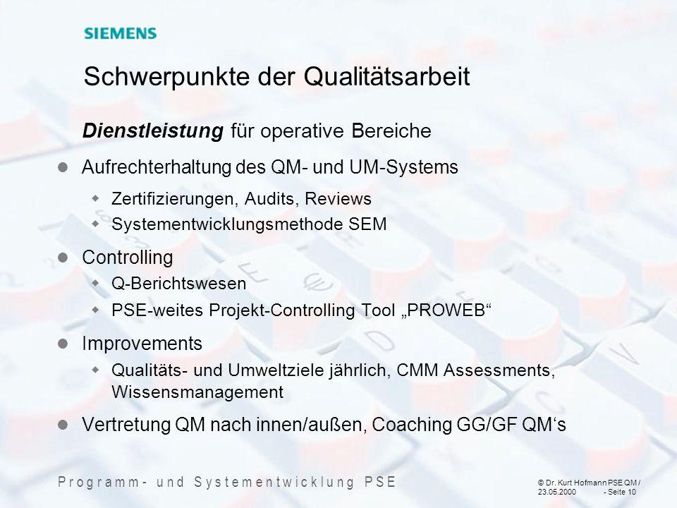 © Dr. Kurt Hofmann PSE QM / 23.05.2000 - Seite 10 P r o g r a m m - u n d S y s t e m e n t w i c k l u n g P S E Schwerpunkte der Qualitätsarbeit Die