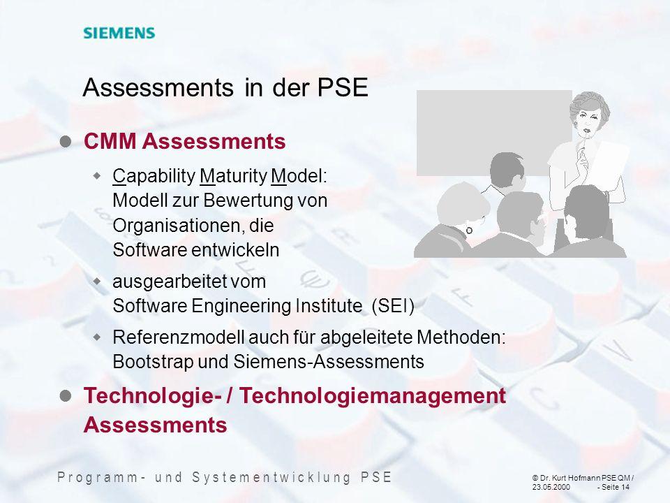 © Dr. Kurt Hofmann PSE QM / 23.05.2000 - Seite 14 P r o g r a m m - u n d S y s t e m e n t w i c k l u n g P S E CMM Assessments Capability Maturity