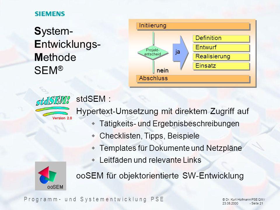 © Dr. Kurt Hofmann PSE QM / 23.05.2000 - Seite 21 P r o g r a m m - u n d S y s t e m e n t w i c k l u n g P S E System- Entwicklungs- Methode SEM ®