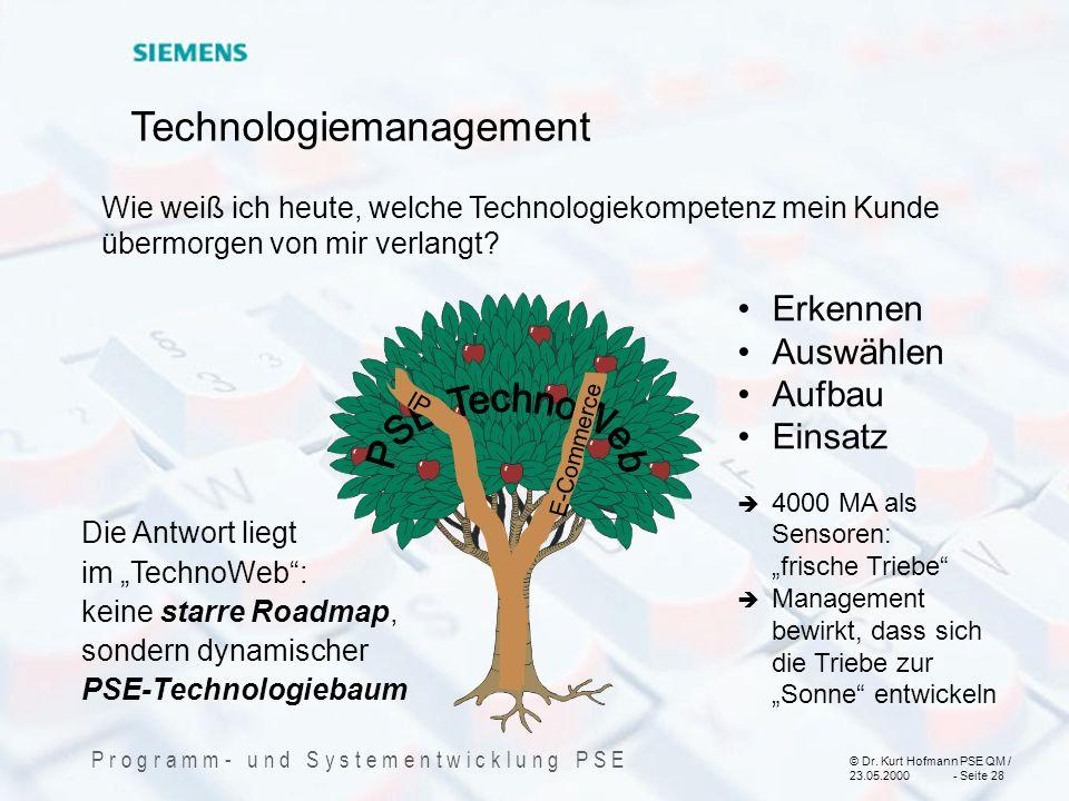 © Dr. Kurt Hofmann PSE QM / 23.05.2000 - Seite 28 P r o g r a m m - u n d S y s t e m e n t w i c k l u n g P S E Die Antwort liegt im TechnoWeb: kein