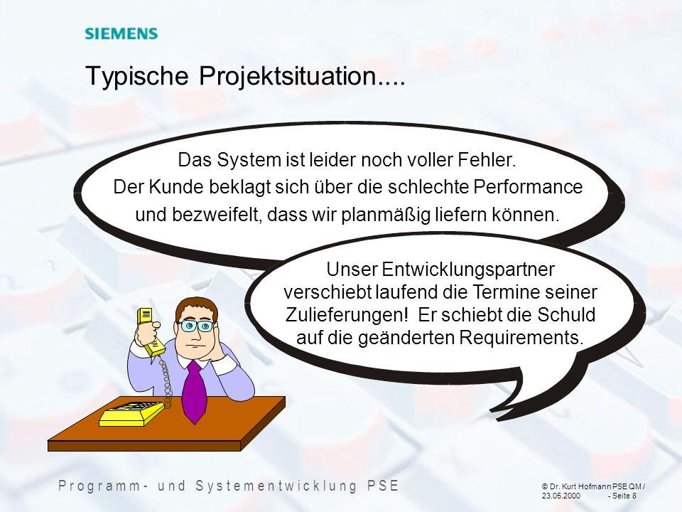 © Dr. Kurt Hofmann PSE QM / 23.05.2000 - Seite 8 P r o g r a m m - u n d S y s t e m e n t w i c k l u n g P S E Typische Projektsituation.... Das Sys