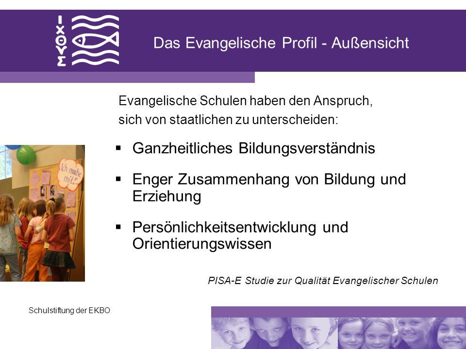 Schulstiftung der EKBO Das Evangelische Profil - Außensicht Ganzheitliches Bildungsverständnis Enger Zusammenhang von Bildung und Erziehung Persönlich