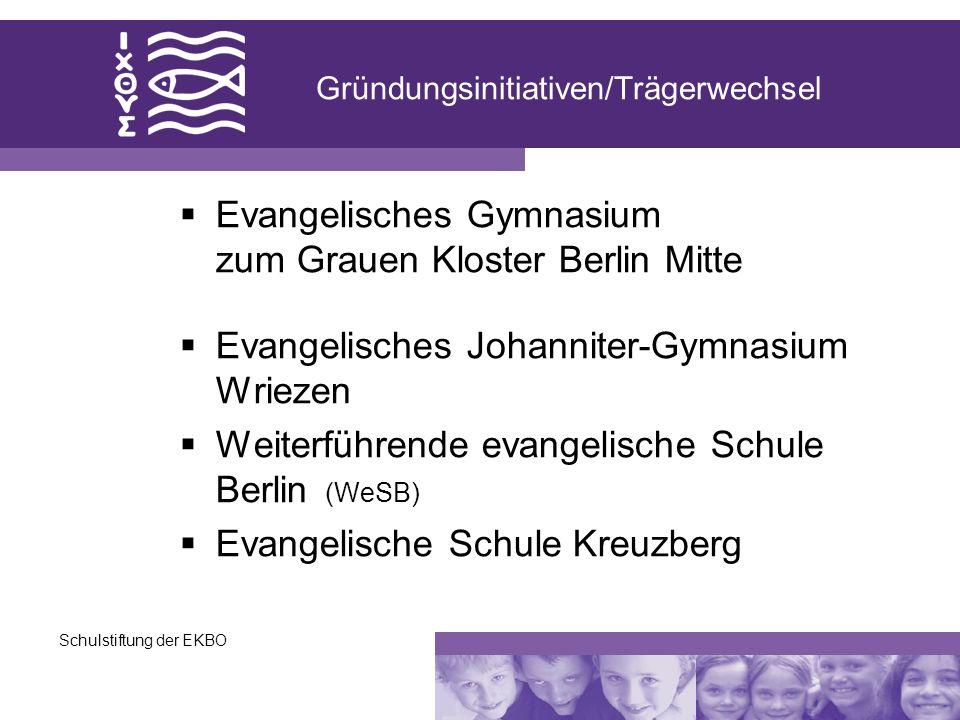 Schulstiftung der EKBO Gründungsinitiativen/Trägerwechsel Evangelisches Gymnasium zum Grauen Kloster Berlin Mitte Evangelisches Johanniter-Gymnasium W