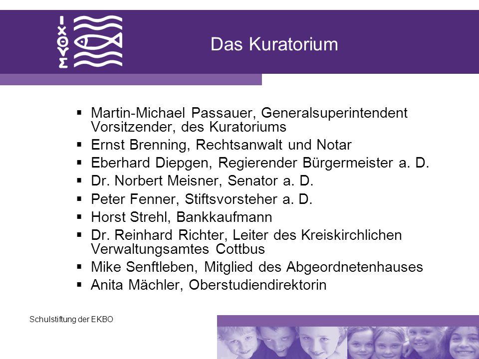 Schulstiftung der EKBO Das Kuratorium Martin-Michael Passauer, Generalsuperintendent Vorsitzender, des Kuratoriums Ernst Brenning, Rechtsanwalt und No