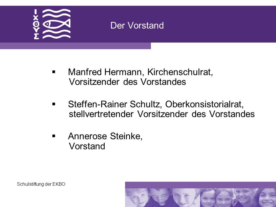 Schulstiftung der EKBO Der Vorstand Manfred Hermann, Kirchenschulrat, Vorsitzender des Vorstandes Steffen-Rainer Schultz, Oberkonsistorialrat, stellve