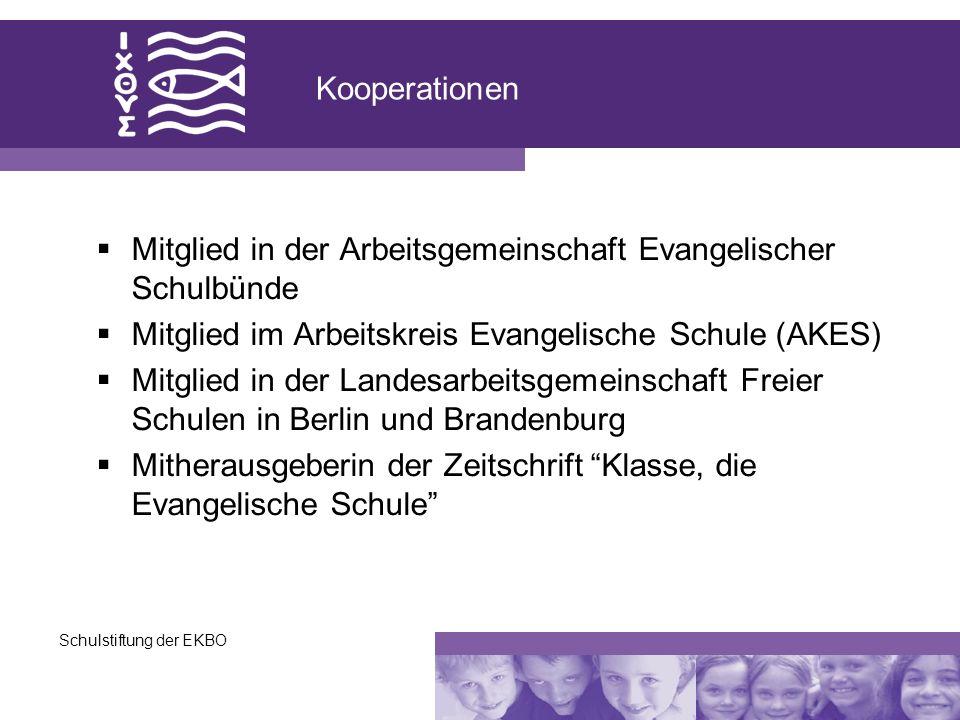 Schulstiftung der EKBO Kooperationen Mitglied in der Arbeitsgemeinschaft Evangelischer Schulbünde Mitglied im Arbeitskreis Evangelische Schule (AKES)