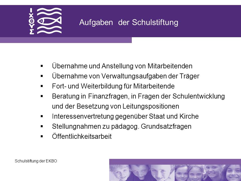 Schulstiftung der EKBO Aufgaben der Schulstiftung Übernahme und Anstellung von Mitarbeitenden Übernahme von Verwaltungsaufgaben der Träger Fort- und W