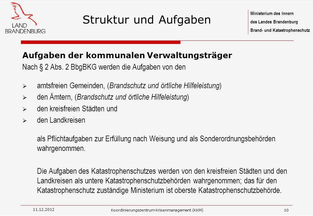 Ministerium des Innern des Landes Brandenburg Brand- und Katastrophenschutz 11.12.2012 Koordinierungszentrum Krisenmanagement (KKM)10 Aufgaben der kommunalen Verwaltungsträger Nach § 2 Abs.