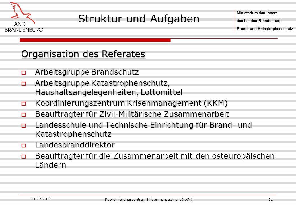 Ministerium des Innern des Landes Brandenburg Brand- und Katastrophenschutz 11.12.2012 Koordinierungszentrum Krisenmanagement (KKM)12 Organisation des