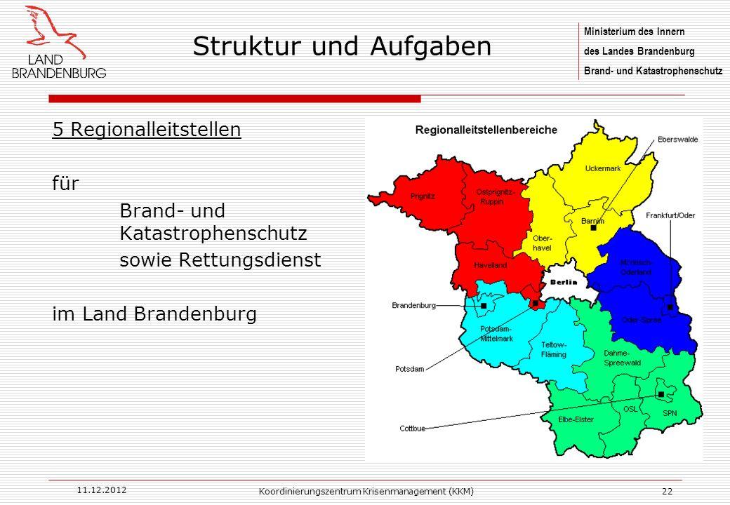 Ministerium des Innern des Landes Brandenburg Brand- und Katastrophenschutz 11.12.2012 Koordinierungszentrum Krisenmanagement (KKM)22 5 Regionalleitst