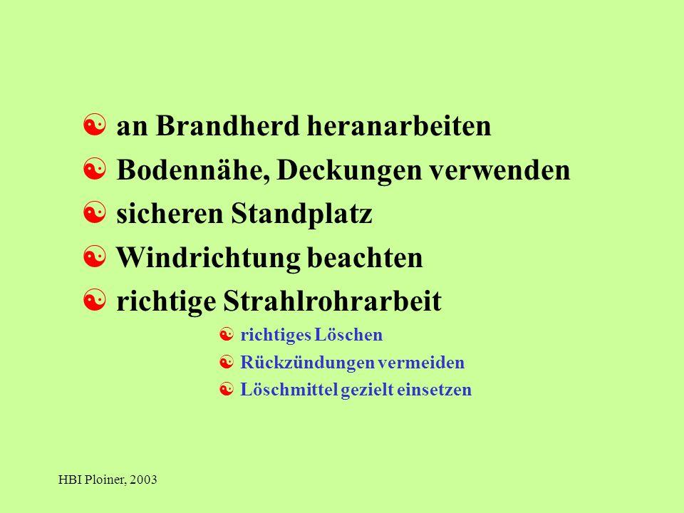 HBI Ploiner, 2003 [ an Brandherd heranarbeiten [ Bodennähe, Deckungen verwenden [ sicheren Standplatz [ Windrichtung beachten [ richtige Strahlrohrarbeit [ richtiges Löschen [ Rückzündungen vermeiden [ Löschmittel gezielt einsetzen