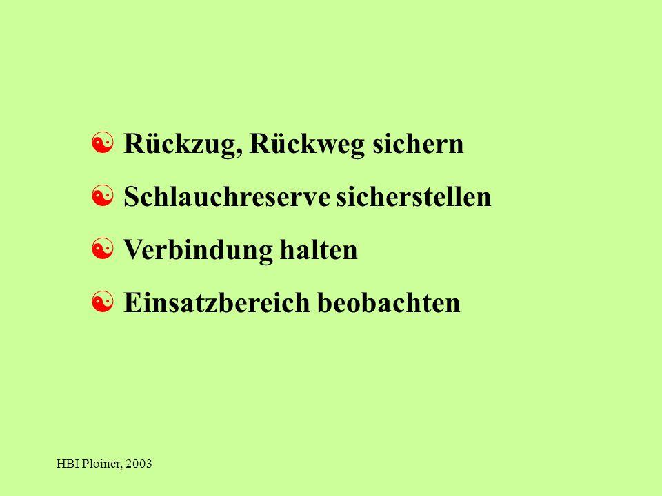 HBI Ploiner, 2003 [ Rückzug, Rückweg sichern [ Schlauchreserve sicherstellen [ Verbindung halten [ Einsatzbereich beobachten