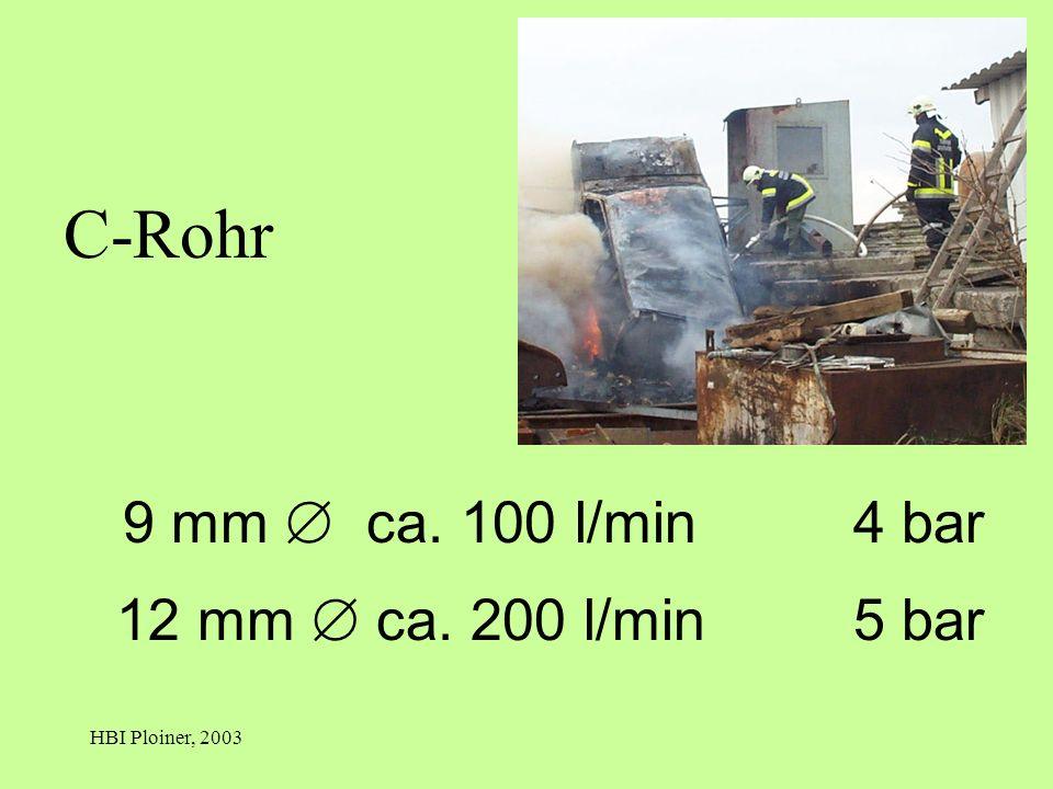 HBI Ploiner, 2003 9 mm ca. 100 l/min4 bar 12 mm ca. 200 l/min5 bar C-Rohr