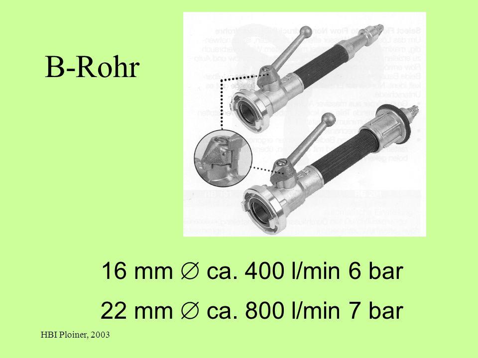 HBI Ploiner, 2003 B-Rohr 16 mm ca. 400 l/min 6 bar 22 mm ca. 800 l/min 7 bar