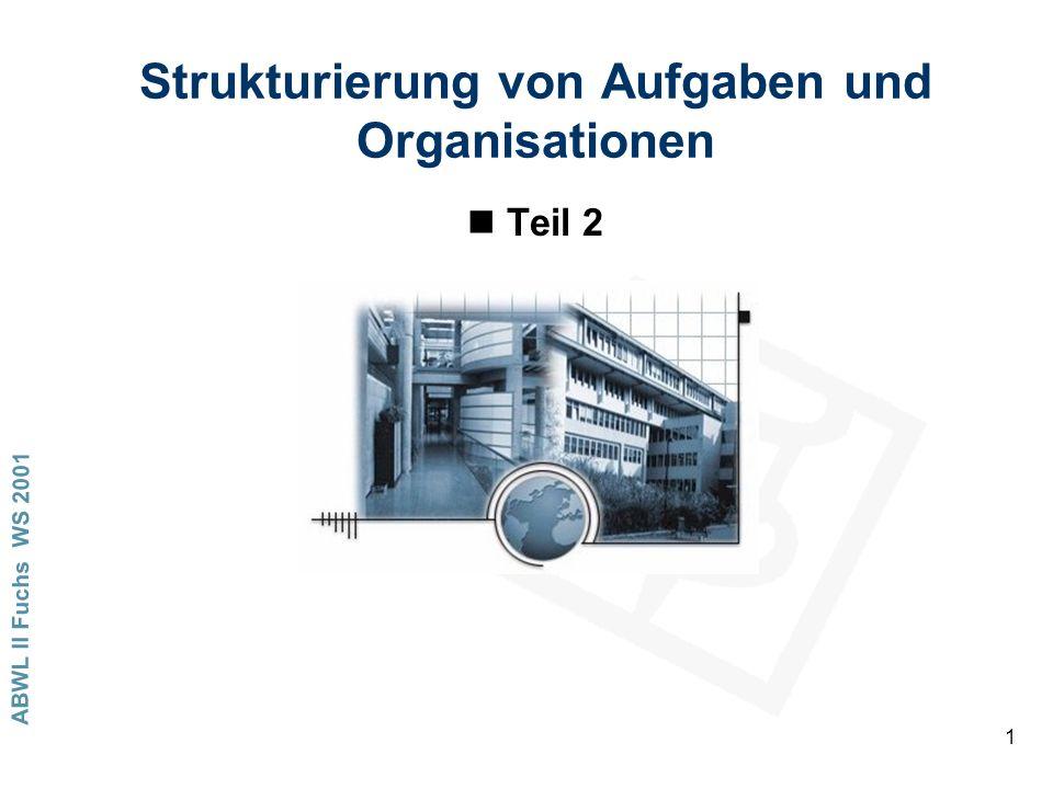 ABWL II Fuchs WS 2001 1 Strukturierung von Aufgaben und Organisationen nTeil 2