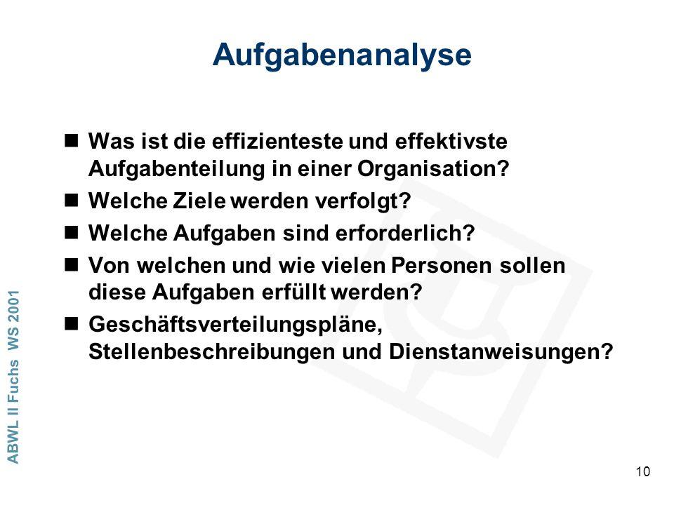 ABWL II Fuchs WS 2001 10 Aufgabenanalyse nWas ist die effizienteste und effektivste Aufgabenteilung in einer Organisation? nWelche Ziele werden verfol