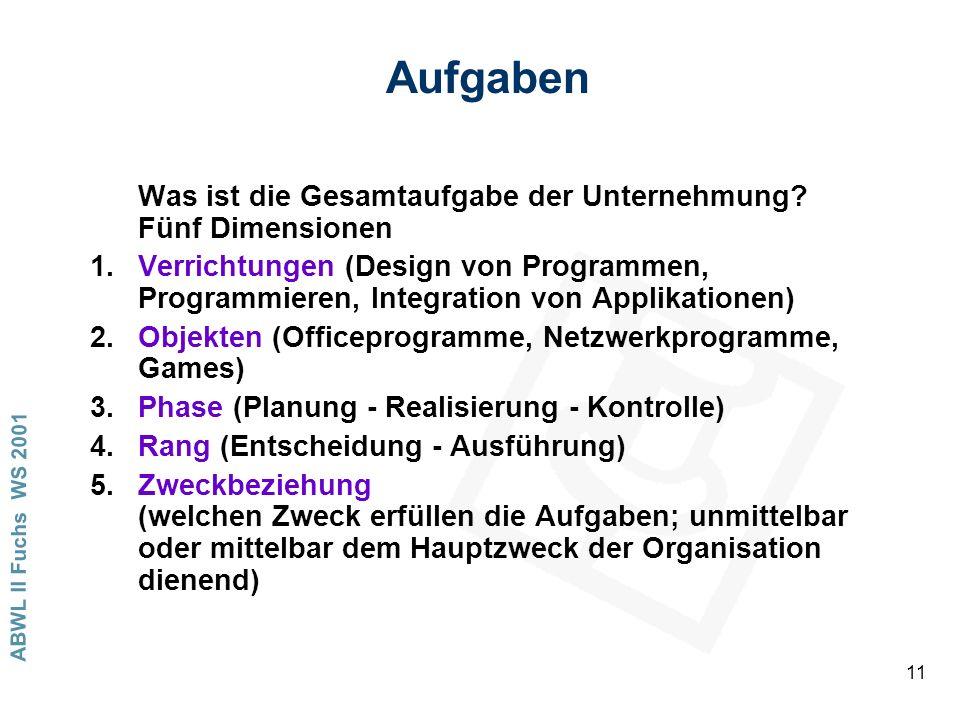 ABWL II Fuchs WS 2001 11 Aufgaben Was ist die Gesamtaufgabe der Unternehmung? Fünf Dimensionen 1.Verrichtungen (Design von Programmen, Programmieren,