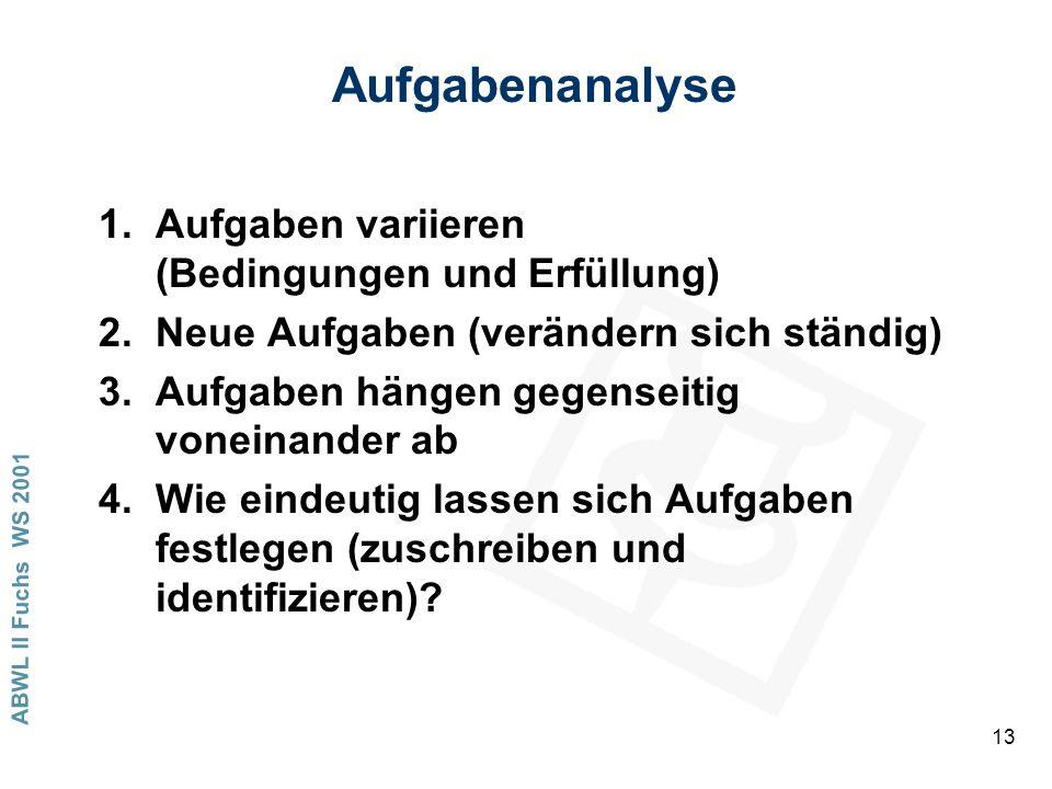 ABWL II Fuchs WS 2001 13 Aufgabenanalyse 1.Aufgaben variieren (Bedingungen und Erfüllung) 2.Neue Aufgaben (verändern sich ständig) 3.Aufgaben hängen gegenseitig voneinander ab 4.Wie eindeutig lassen sich Aufgaben festlegen (zuschreiben und identifizieren)?