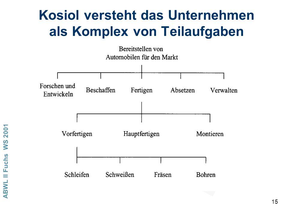 ABWL II Fuchs WS 2001 15 Kosiol versteht das Unternehmen als Komplex von Teilaufgaben