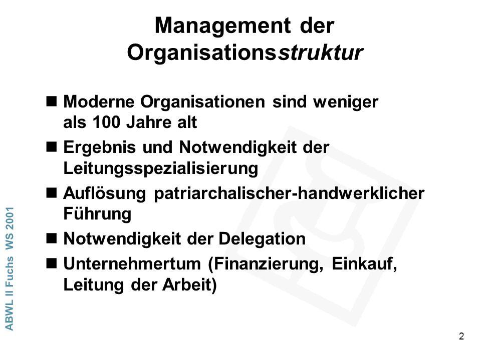 ABWL II Fuchs WS 2001 2 Management der Organisationsstruktur nModerne Organisationen sind weniger als 100 Jahre alt nErgebnis und Notwendigkeit der Leitungsspezialisierung nAuflösung patriarchalischer-handwerklicher Führung nNotwendigkeit der Delegation nUnternehmertum (Finanzierung, Einkauf, Leitung der Arbeit)