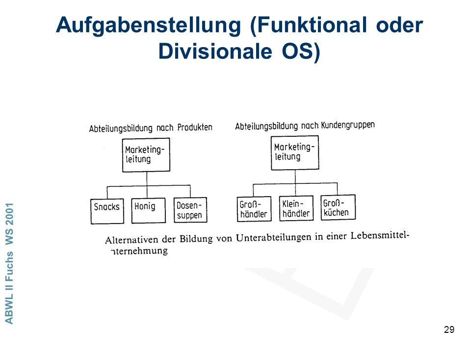 ABWL II Fuchs WS 2001 29 Aufgabenstellung (Funktional oder Divisionale OS)