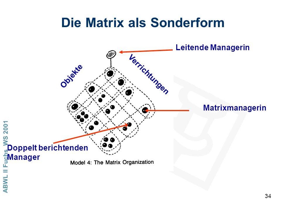 ABWL II Fuchs WS 2001 34 Die Matrix als Sonderform Objekte Verrichtungen Leitende Managerin Matrixmanagerin Doppelt berichtenden Manager