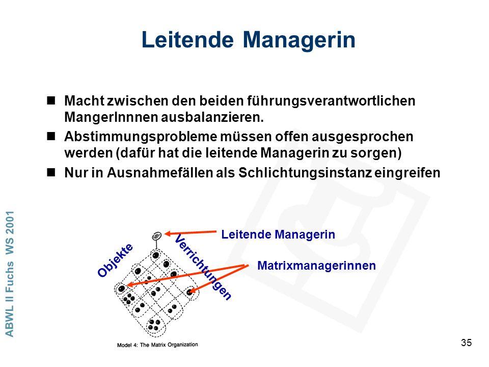 ABWL II Fuchs WS 2001 35 Leitende Managerin nMacht zwischen den beiden führungsverantwortlichen MangerInnnen ausbalanzieren. nAbstimmungsprobleme müss