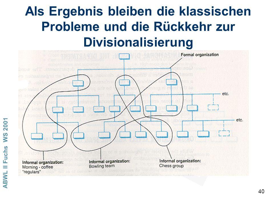 ABWL II Fuchs WS 2001 40 Als Ergebnis bleiben die klassischen Probleme und die Rückkehr zur Divisionalisierung