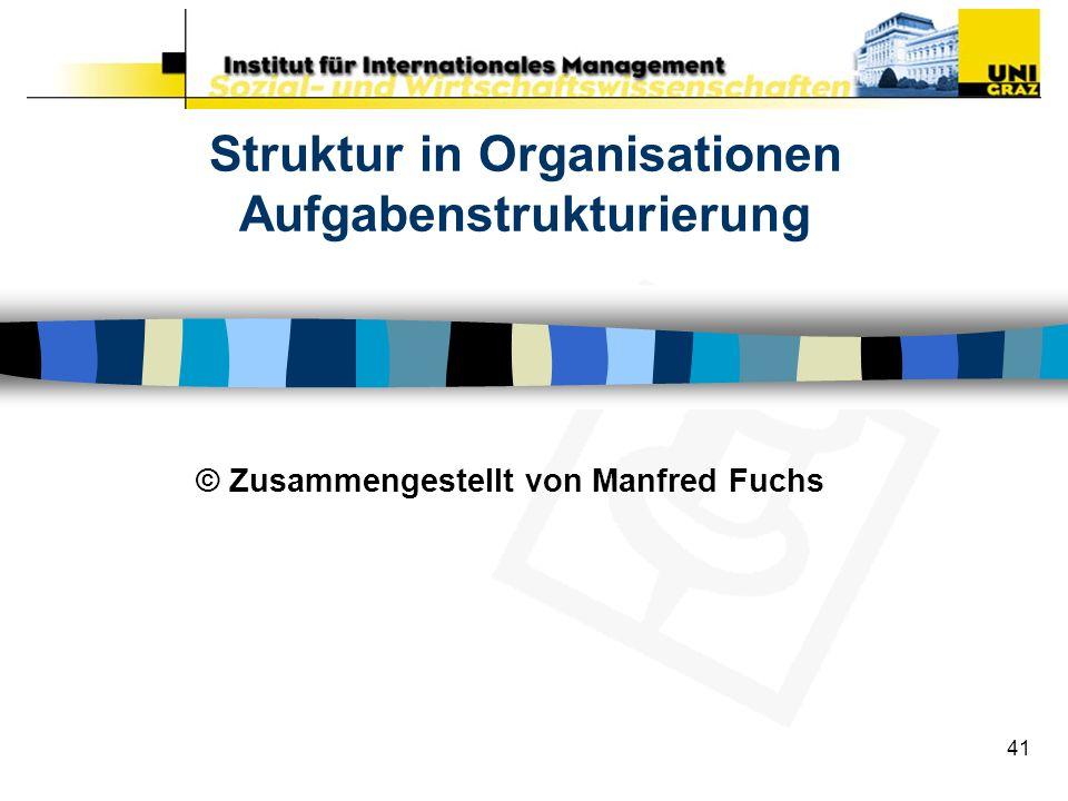 41 Struktur in Organisationen Aufgabenstrukturierung © Zusammengestellt von Manfred Fuchs