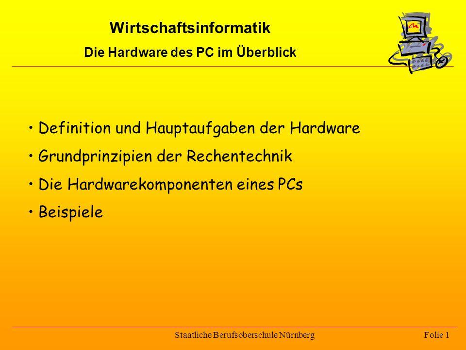 Wirtschaftsinformatik Die Hardware des PC im Überblick Staatliche Berufsoberschule Nürnberg Folie 1 Definition und Hauptaufgaben der Hardware Grundpri