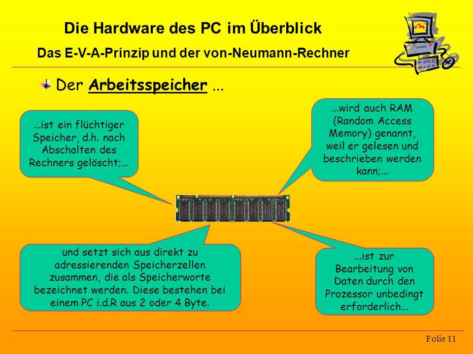 Die Hardware des PC im Überblick Das E-V-A-Prinzip und der von-Neumann-Rechner Folie 11 Der Arbeitsspeicher......ist ein flüchtiger Speicher, d.h. nac