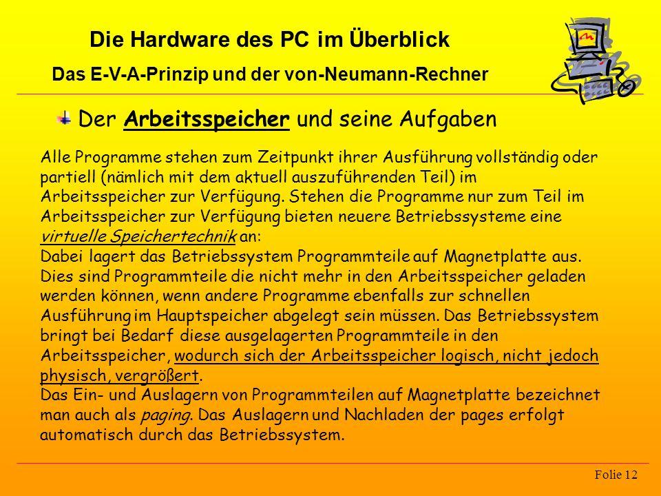 Die Hardware des PC im Überblick Das E-V-A-Prinzip und der von-Neumann-Rechner Folie 12 Der Arbeitsspeicher und seine Aufgaben Alle Programme stehen z