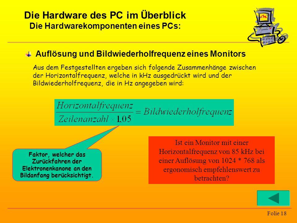 Folie 18 Auflösung und Bildwiederholfrequenz eines Monitors Aus dem Festgestellten ergeben sich folgende Zusammenhänge zwischen der Horizontalfrequenz