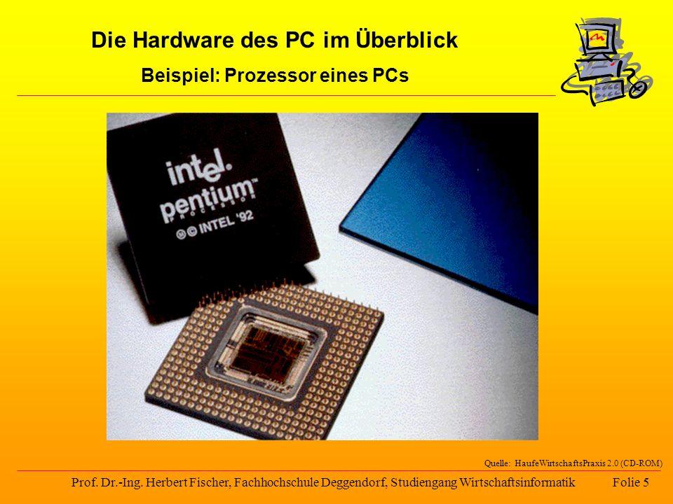 Die Hardware des PC im Überblick Beispiel: Prozessor eines PCs Prof. Dr.-Ing. Herbert Fischer, Fachhochschule Deggendorf, Studiengang Wirtschaftsinfor