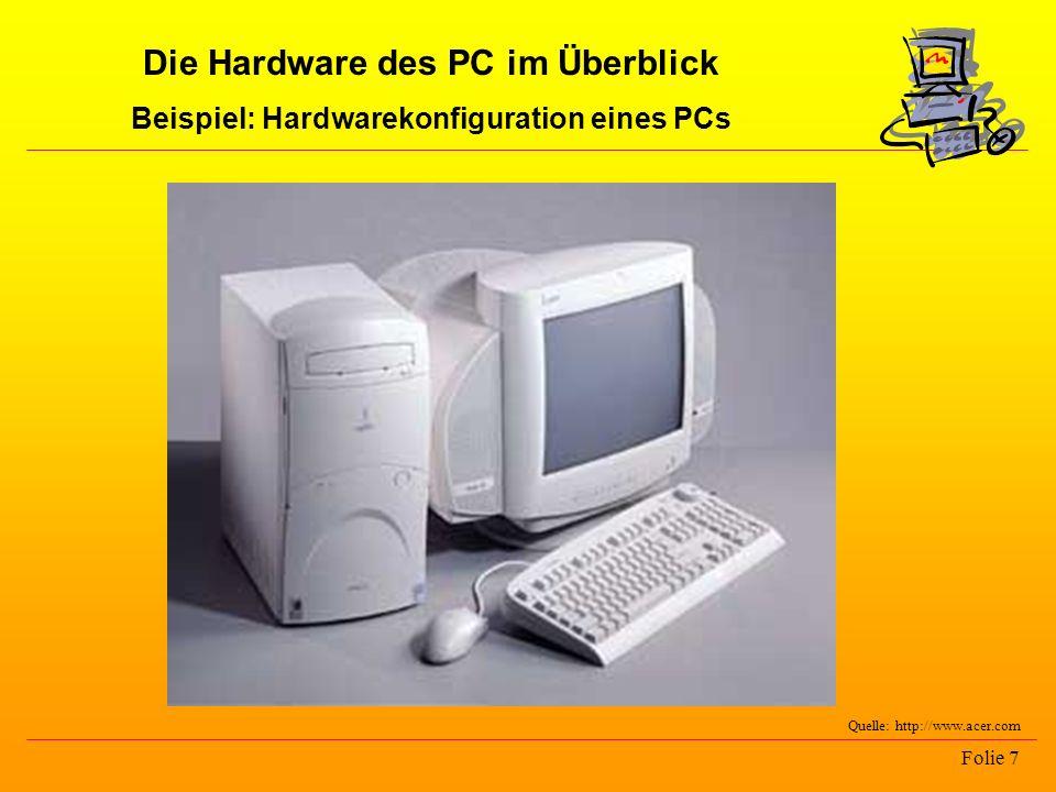 Die Hardware des PC im Überblick Beispiel: Hardwarekonfiguration eines PCs Folie 7 Quelle: http://www.acer.com