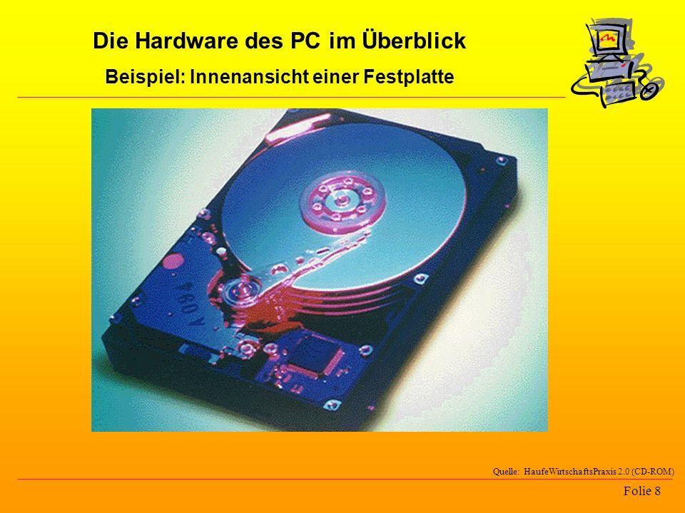 Folie 8 Quelle: HaufeWirtschaftsPraxis 2.0 (CD-ROM) Die Hardware des PC im Überblick Beispiel: Innenansicht einer Festplatte