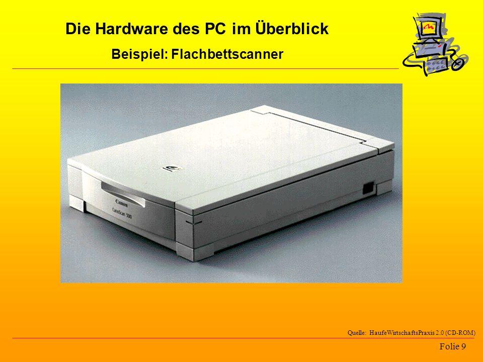 Folie 9 Quelle: HaufeWirtschaftsPraxis 2.0 (CD-ROM) Die Hardware des PC im Überblick Beispiel: Flachbettscanner