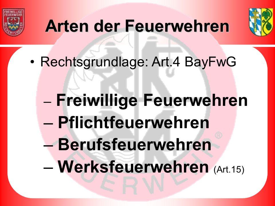 Rechtsgrundlage: Art.4 BayFwG – Freiwillige Feuerwehren – Pflichtfeuerwehren – Berufsfeuerwehren – Werksfeuerwehren (Art.15) Arten der Feuerwehren