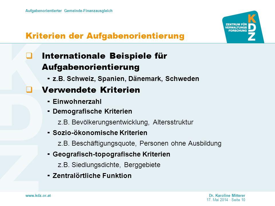 www.kdz.or.at Aufgabenorientierter Gemeinde-Finanzausgleich Dr. Karoline Mitterer 17. Mai 2014 · Seite 10 Kriterien der Aufgabenorientierung Internati