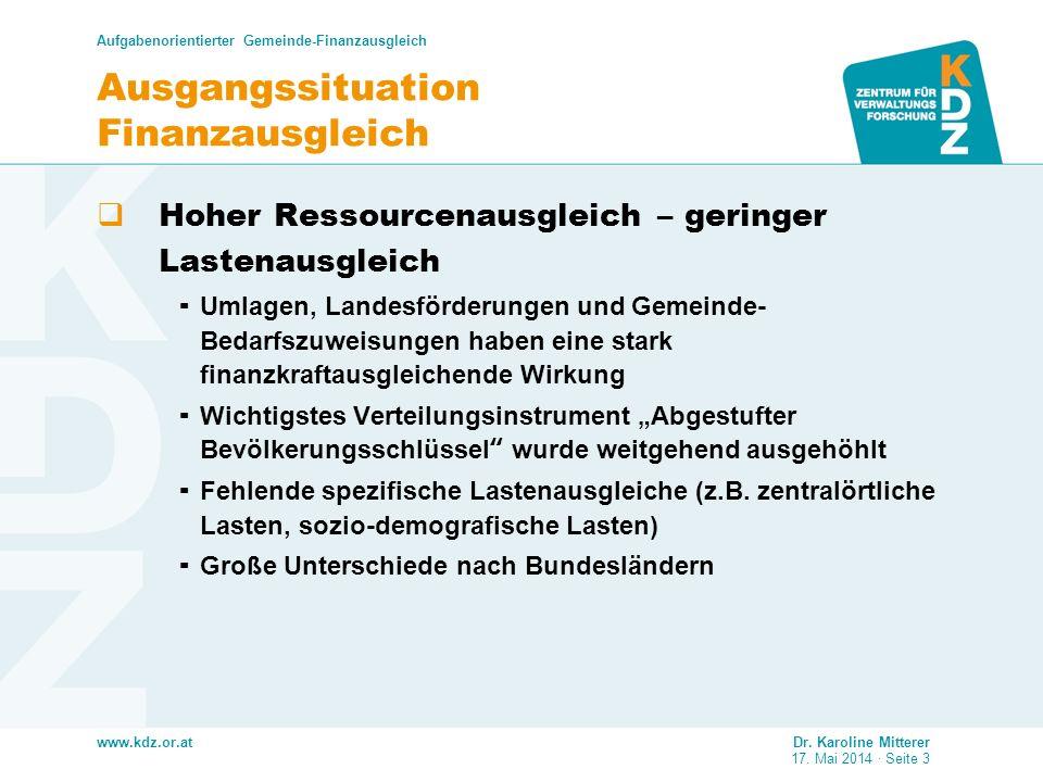 www.kdz.or.at Ausgangssituation Finanzausgleich Hoher Ressourcenausgleich – geringer Lastenausgleich Umlagen, Landesförderungen und Gemeinde- Bedarfsz