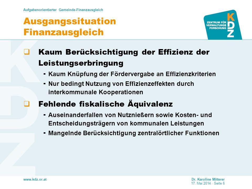www.kdz.or.at Ausgangssituation Finanzausgleich Kaum Berücksichtigung der Effizienz der Leistungserbringung Kaum Knüpfung der Fördervergabe an Effizie